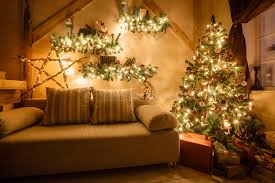 christmas decorations for sofa table calm image of interior modern home living room decorated christmas