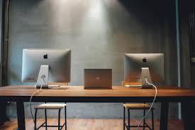 desktop table design free images desk computer mac screen working table wood
