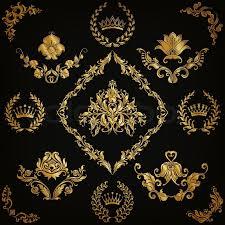 set of gold damask ornaments floral element ornate border