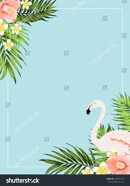 tropical exotic invitation card template rectangular stock vector