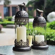 large size glass candle holders european wrought iron decorative