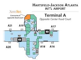 atlanta international airport map xpresspa com atlanta atl airport spa at terminal a food court
