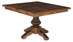 square table with leaf amish rustic square dining table pedestal leaf solid wood furniture