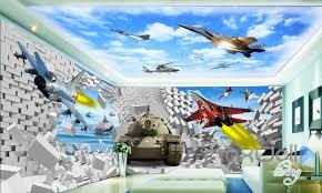 wallpaper for entire wall 3d plane tank break wall entire living room bedroom wallpaper wall