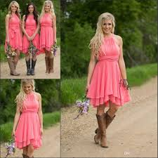 2018 country style short bridesmaid dresses watermelon royal blue