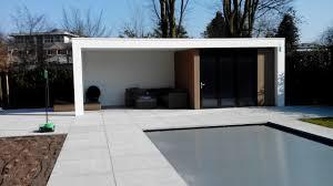 Pool House Garage Modern Poolhouse Met Geisoleerde Berging Tuinkamer Met
