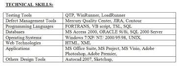 Testing Tools Resume