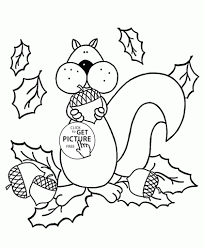 squirrel and autumn coloring pages for kids fall seasons coloring