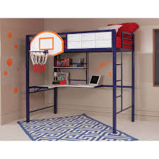 amazon com powell hoops basketball twin loft bed with desk for