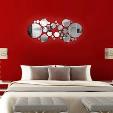 28pcs simple 3d wall stickers diy home decoration round mirror