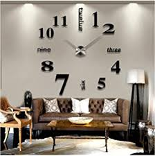diy livingroom decor cozroom large silver 3d frameless wall clock stickers