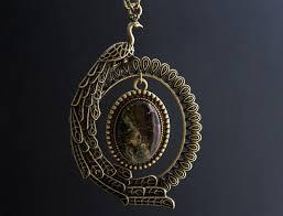 crystal ring necklace images Bird necklace bronze necklace firebird pendant purpurite long jpg