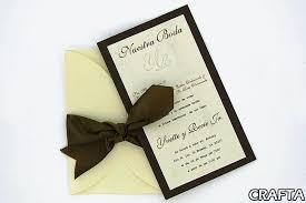 card stock folded wedding invitation decorated w satin bow