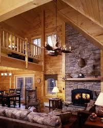 Decorate Inside Fireplace by Excellent Log Cabin Interior Panels Using Modern Gas Fireplace