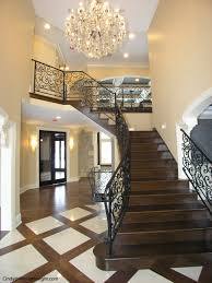 Chandeliers For Foyers 2 Story Foyer With Curved Iron Railings And Wooden Staircse