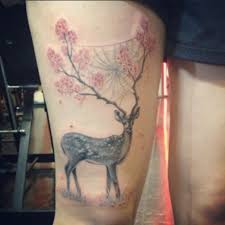 beautiful mystical deer with tree on horns animal leg tattoo