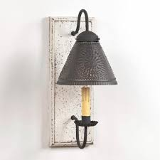 Tin Sconce Wood Wrought Iron U0026 Punched Tin Wall Sconce Light Handcrafted In 4