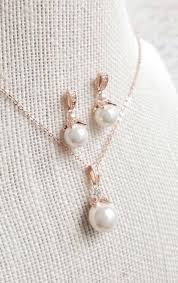 bridal necklace jewelry images Rose gold pearl drop bridal earrings and necklace jewelry set jpg