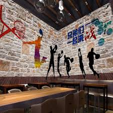 custom 3d wallpaper high definition basketball graffiti brick wall shadow mural painting gymnasium background wallpaper in wallpapers from home improvement