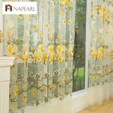Yellow Sheer Curtains Fashion Design Modern Transparent Tulle Curtains Window Treatments