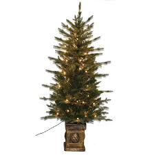 4 5 ft pre lit balsam pe potted tree with lights 15940 the home