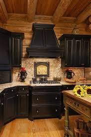 black kitchen cabinets in log cabin amazing kitchen color scheme ideas for cabinets 34