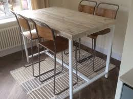 reclaimed industrial 4 seater chic tall desk dining poseur