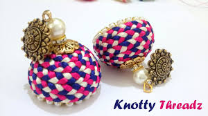 silk home how to make silk thread jhumkas braided with antique studs at