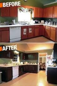 before and after chocolate brown kitchen using rustoleum featured