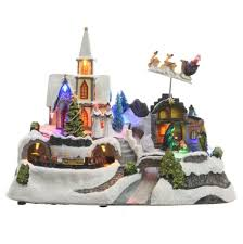 battery operated led christmas scene with moving train 30cm