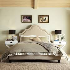 fletcher linen nailhead arch curved upholstered full bed by