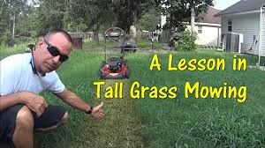 pt 1 how to cut tall grass with basic lawn mower push mowing