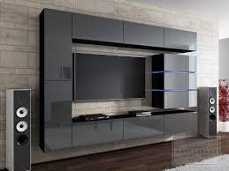 Exklusive Wohnzimmer Modern Wohnwand Modern Grau Kaufexpert Shine Hochglanzschwarz Cm