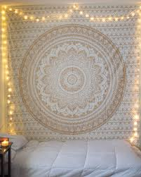 small golden color floral trippy ombre medallion mandala wall