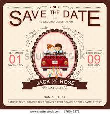 Fun Wedding Invitations Cute Wedding Invitation Card Template Vectorillustration Stock
