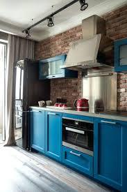 faux brick kitchen backsplash brick kitchen backsplash a bold blue kitchen with touches and a