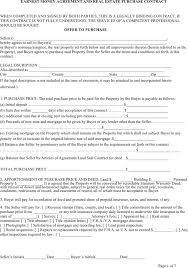 download virginia earnest money agreement and real estate purchase