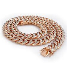 rose gold link necklace images 18k rose gold plated cuban chain iced out cz necklace 30 inches jpg