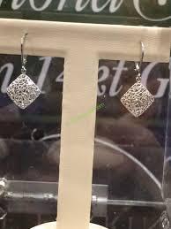 white gold dangle earrings 14kt white gold diamond cut dangle earrings costcochaser
