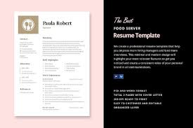 Best Server Resume by Server Resume Template Resume Templates Creative Market