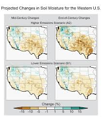 Map Of Western United States Projected Changes In Soil Moisture In The Western United States