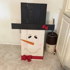 my snowman i made out of pallets u0026 hand painted my creations