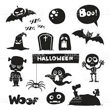 vector set of characters and icons for halloween in cartoon style