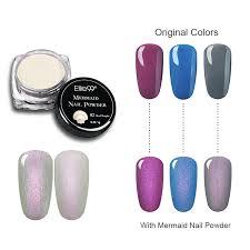 elite99 magic mermaid nail powder mixed with led uv gel varnish