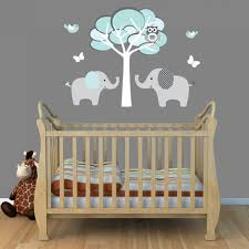 baby nursery archaic picture of unisex baby nursery room using light blue brown elephant baby nursery wall mural including modern white brown wooden baby crib and light blue grey baby crib bedding image