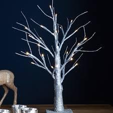 pre lit silver glitter led battery twig tree lights4f