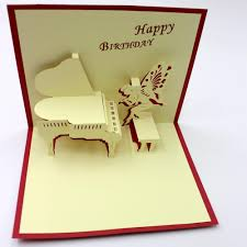paper greeting cards handmade kraft card laser cut creative piano postcard 3d