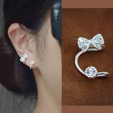 ear cuffs for pierced ears bow and rhinestone ear cuff silver single no piercing