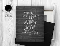 Scripture Wall Art Home Decor by Bible Verse Eat In Plenty Art Print Scripture Art Christian Wall