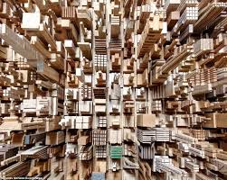scrap wood sculpture chippings an block pictures of city skyline